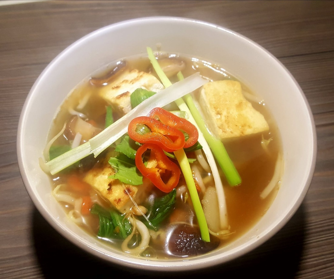 Soup bowl with Asian style ingredients