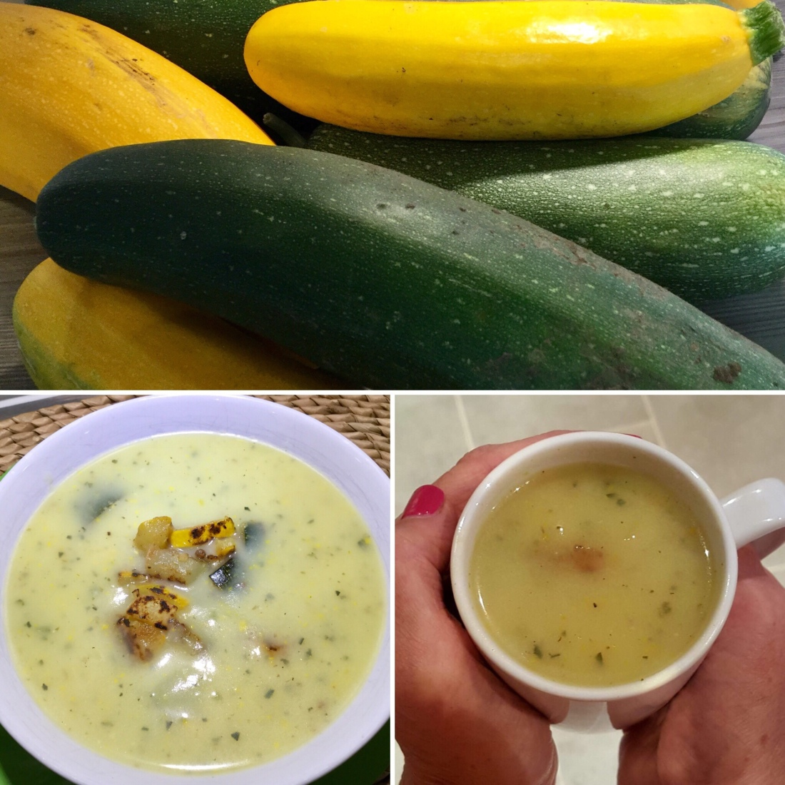 A collage showing a pile of courgettes, a bowl of soup and a mug of soup