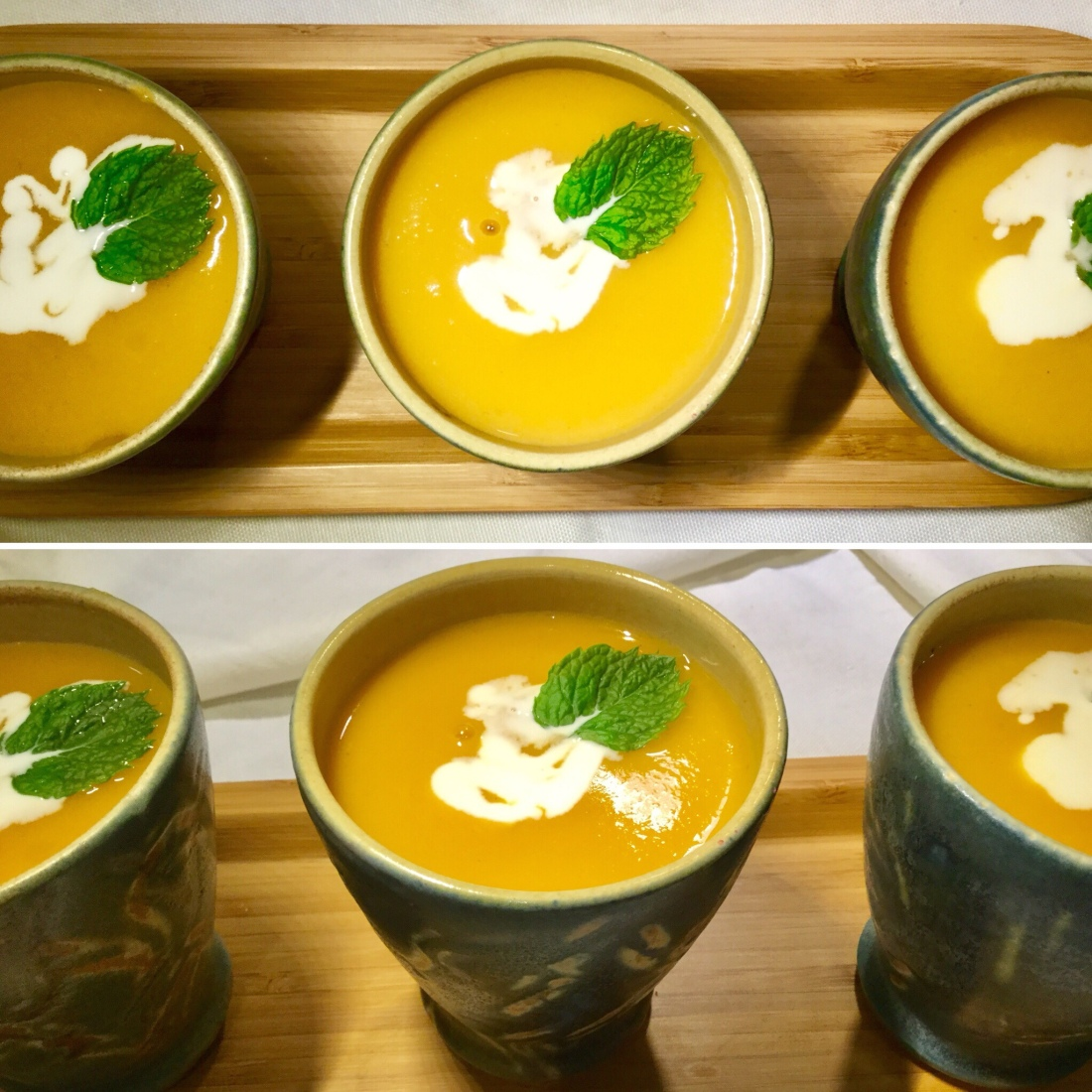 Sweet Potato and Pear Soup served in beakers