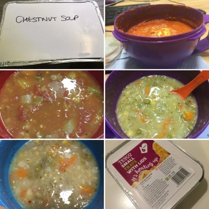 A collage showing five soups and a pack of foil trays