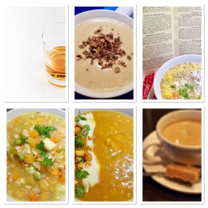 A collage showing four soups, a glass of whisky and a piece of Scottish tablet