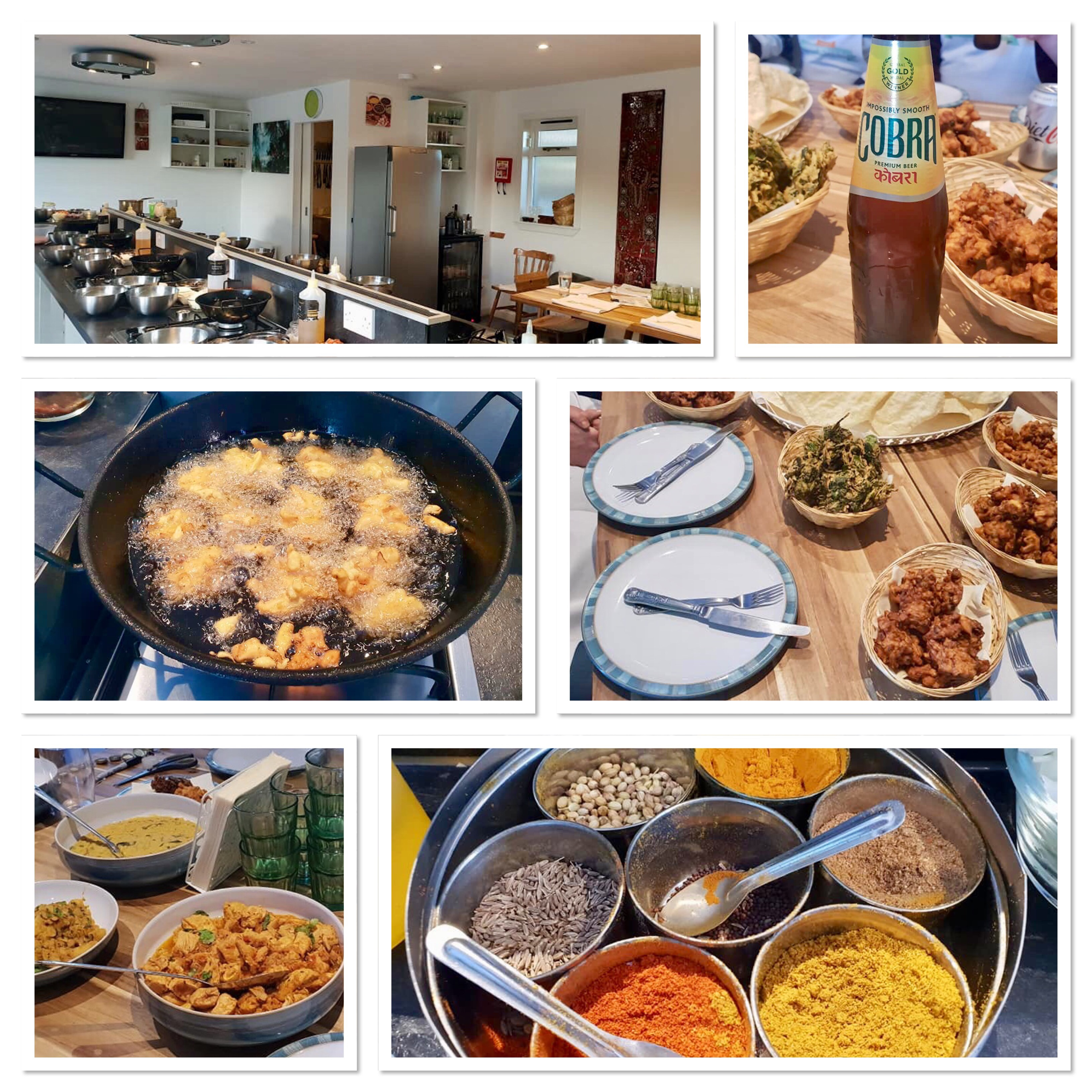 A collage of pictures incluing curry and beer
